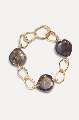 EJING ZHANG Tilda Resin And Gold-plated Bracelet - Purple