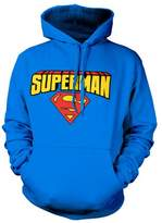 Superman Hoodie Blockletter Logo Official Mens Blue