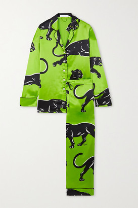 Olivia von Halle Lila Printed Silk-satin Pajama Set - Green