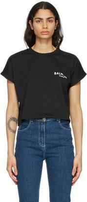Balmain Black Cropped Flocked Logo T-Shirt