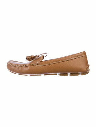 Prada Patent Leather Tassel Accents Loafers Brown