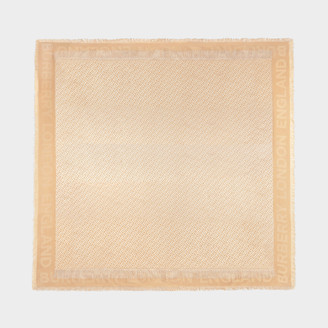 Burberry Tb Monogram Square In Honey Wool And Silk