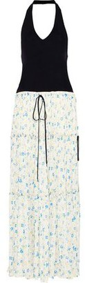 Chloé Ribbed-knit And Floral-print Crepe De Chine Halterneck Maxi Dress