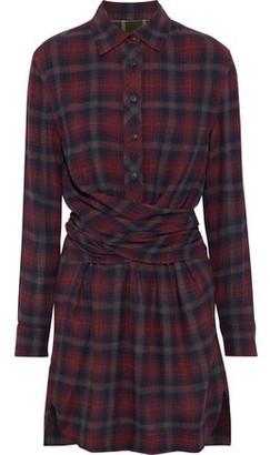 Rag & Bone Felicity Tie-back Checked Flannel Mini Shirt Dress