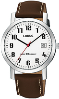 Lorus Rxh65ex9 Date Leather Strap Watch, Brown/white
