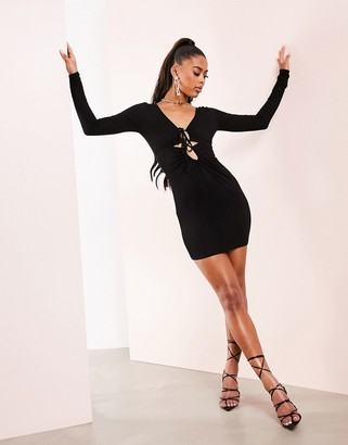 Asos Design ASOS LUXE long sleeve lace up cut out bodycon mini dress in black