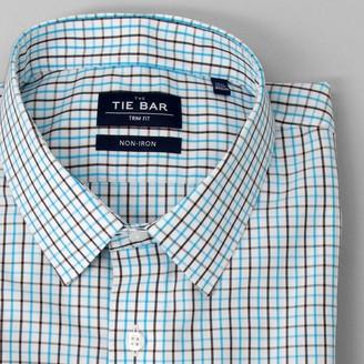 Tie Bar Business Check Aqua Non-Iron Dress Shirt