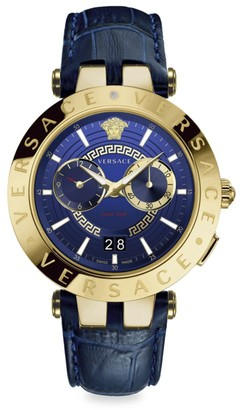 Versace V-Race IP Yellow Gold Leather Strap Watch