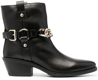 Love Moschino chain-embellished leather Western boots