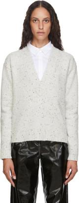 Tibi Off-White Eco Tweedy V-Neck Sweater