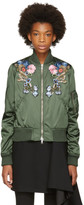 Alexander McQueen Green Floral Embroidered Bomber Jacket