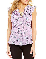 Takara Floral Print Ruffle Trim Cap-Sleeve Lace-Up V-Neck High-Low Top