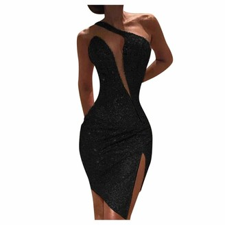 Goosuny Sequin Dress Women's Sleeveless One Shoulder Sexy High Cut Out Sequins Skinny Mini Dress Cold Shoulder Split Slim Formal Evening Party Dress Bodycon Mini Club Dress Black
