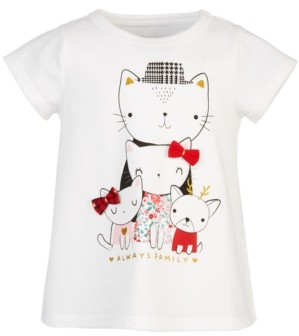 First Impressions Toddler Girls Holiday Cat Family T-Shirt, Created for Macy's