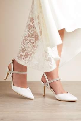 Quiz Bridal Ivory Satin Diamante Strap Heeled Shoes