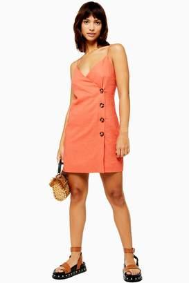 Topshop Womens Linen Blend Button Mini Slip Dress - Coral