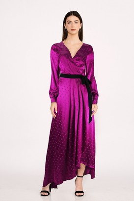 Little Mistress Tasmin Mulberry Polka-Dot Asymmetric Maxi Wrap Dress