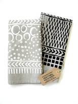 Natural Linen Tea Towel with Playful Pattern