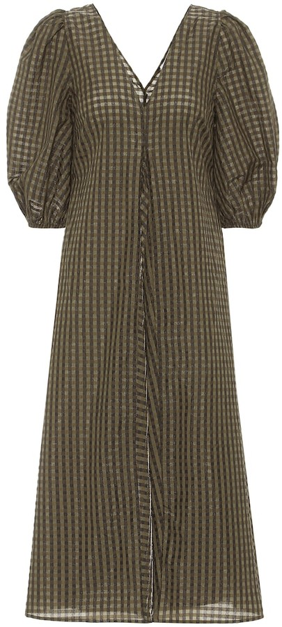 Ganni Checked Seersucker Midi Dress Shopstyle