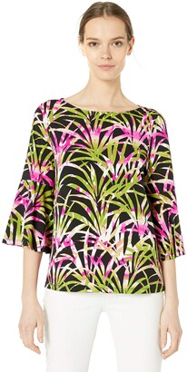 Kasper Women's Plus Size Flounce Sleeve Tropical Palm Leaves Printed ITY