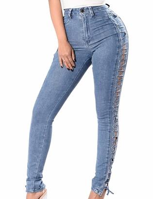 Naliha Women Denim Pants High Waisted Skinny Lace Up Eyelet Summer Jeans Jeggings Blue XL