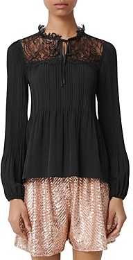 Maje Lockette Pleated Lace-Inset Top