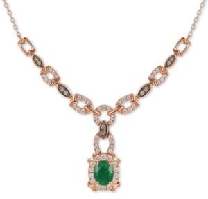 """LeVian Le Vian Costa Smeralda Emerald (7/8 ct. t.w.) & Diamond (3/4 ct. t.w.) Chain Link 16"""" Pendant Necklace in 14k Rose Gold"""