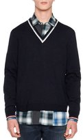 Lanvin Open-Stitch Striped V-Neck Sweater