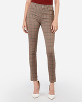 Express High Waisted Plaid Stretch Ankle Leggings