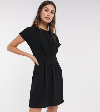 Asos Tall ASOS DESIGN Tall cinched waist mini dress in black