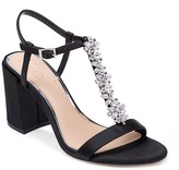 Badgley Mischka Raina Embellished T-Strap Block Heel Sandal