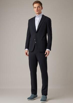 Giorgio Armani Soho Line Slim-Fit Half-Canvas Suit In Stretch Honeycomb Sable Fabric