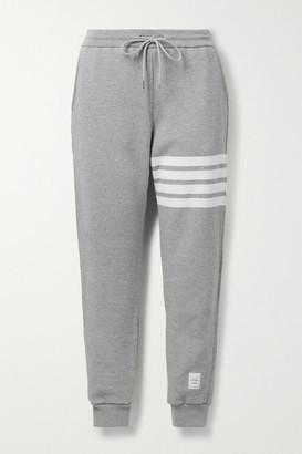 Thom Browne Striped Melange Cotton-jersey Track Pants - Gray