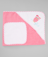 Luvable Friends Pink Owl Hooded Towel & Washcloth