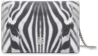 Burberry Leather Zebra Print Chain Card Holder