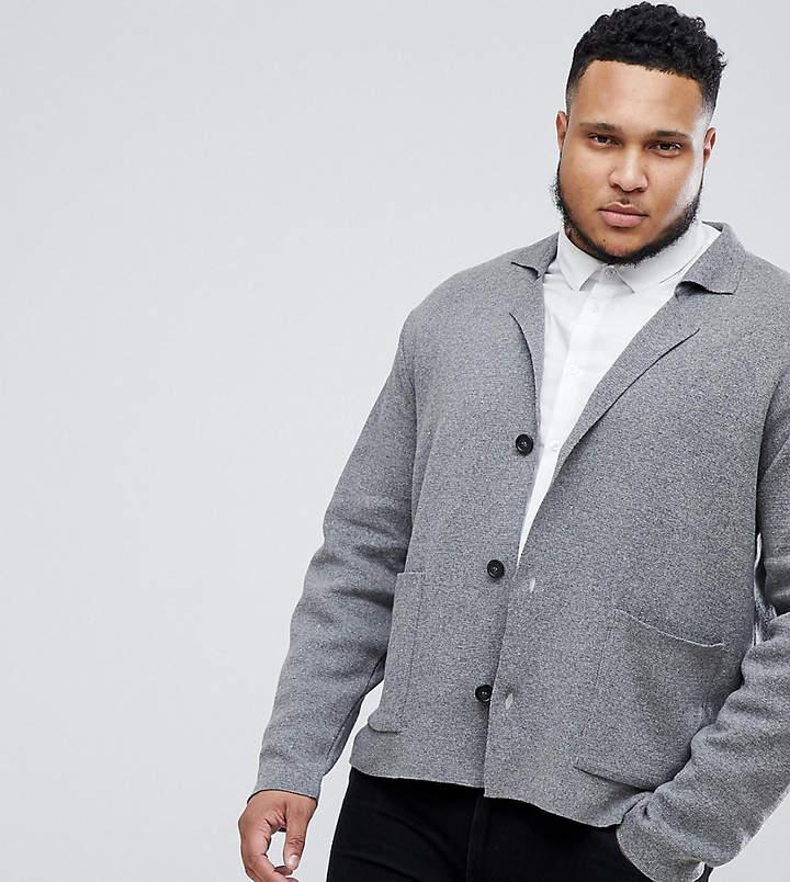 Asos Design PLUS Knitted Blazer In Grey