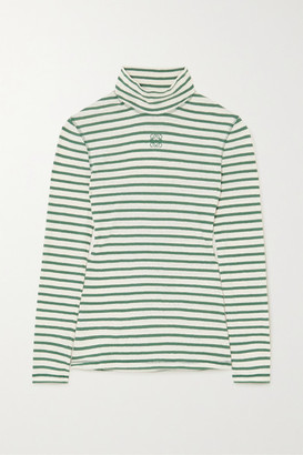Loewe Striped Cotton-jersey Turtleneck Top - Green