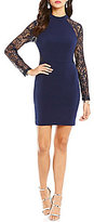 Jodi Kristopher Sequin Lace Long Sleeve Solid Body Sheath Dress