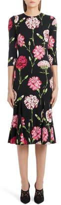 Dolce & Gabbana Fluted Hem Floral Print Charmeuse Dress