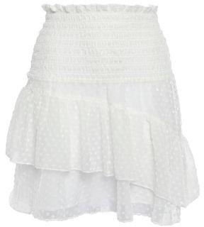 Ganni Jasmine Ruffled Flocked Georgette Mini Skirt