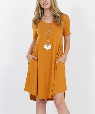Lydiane Women's Casual Dresses DESERTMUSTARD - Desert Mustard V-Neck Short-Sleeve Curved-Hem Pocket Tunic Dress - Women