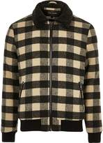 Mens Beige check print borg collar jacket