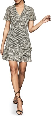 Reiss Paris Print Ruffle Detail Short Sleeve Dress