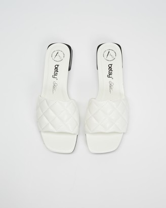 Betsy - Women's White Flat Sandals - Padded Slides - Size 38 at The Iconic