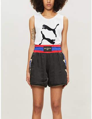 Puma x Balmain satin shorts