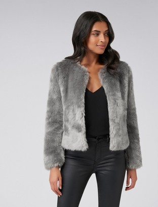 Forever New Angel Cropped Fur Coat - Grey - 12