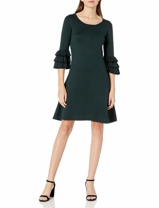 Gabby Skye Women's 3/4 Tier Sleeve w/Pipping Round Neck A-Line Sweater Dress