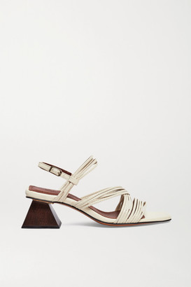 Souliers Martinez Penelope 55 Leather Slingback Sandals - Off-white