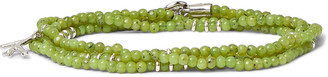 Isaia Saracino Jade And Sterling Silver Beaded Wrap Bracelet