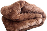 Collection Grizzly Fur Sherpa Fleece Blanket, Brown